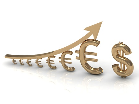 gold bar earn: Illustration of increasing profits euro dollar near