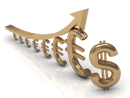 Profit chart euros next to the dollar Stock Photo - 14618962