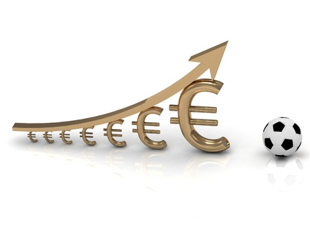 UEFA Cup and chart the growth of the euro currency on white background Stock Photo - 14615663