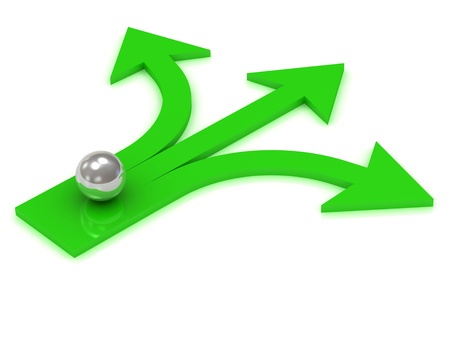 Silver ball at the crossroads of three green arrows on a white background