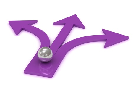 Silver ball at the intersection of three purple arrows on white background photo