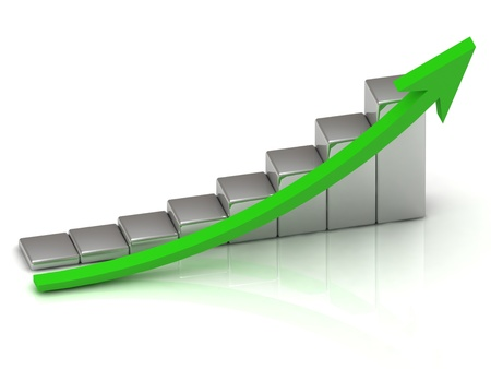 sales chart: Business growth of silver bars and green arrow