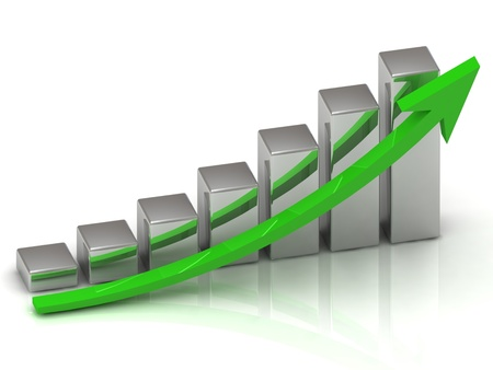sales graph: Business graph output growth of silver bars and green arrows
