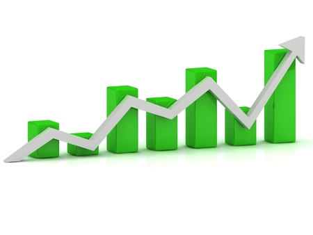Business growth chart of the green bars and the white arrow on a white background