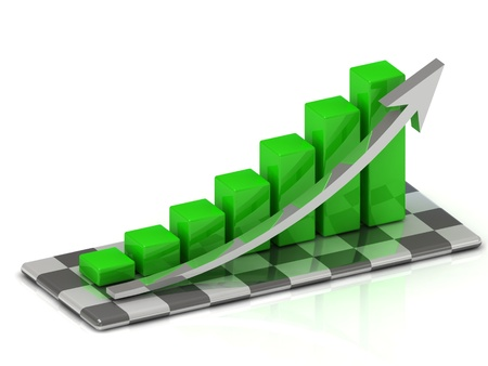 chart the growth of the green bars with an arrow on the chessboard photo