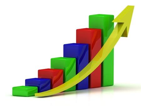 Affari grafico della crescita delle barre di colore e una freccia gialla su sfondo bianco Archivio Fotografico