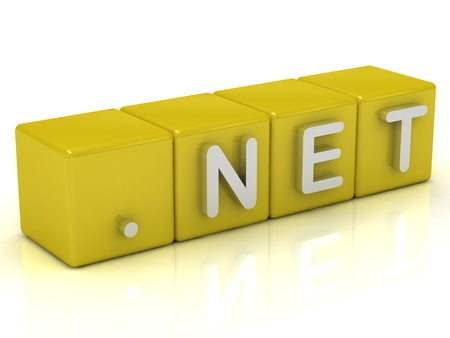 Inscription on the cubes of gold: dot NET on a white background Stock Photo - 14622085