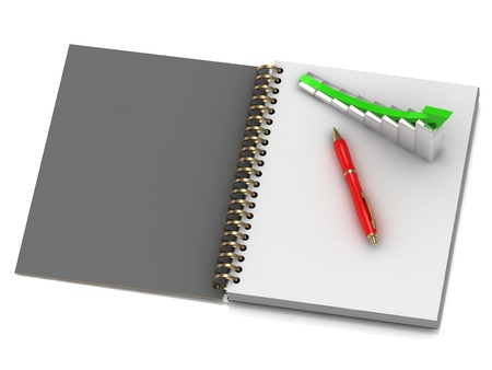 output: Illustration of the graph of output growth on white notebook Stock Photo