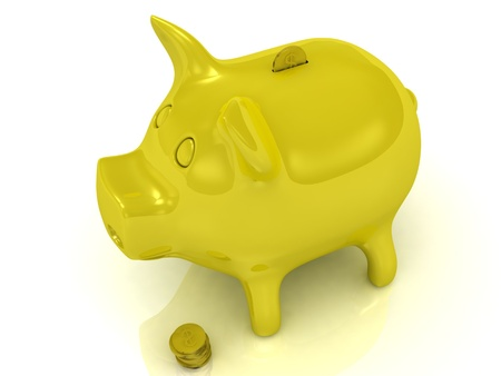 Yellow piggy bank and gold coins on a white background photo