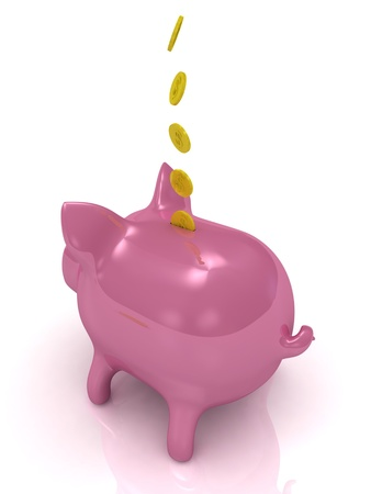 Pink piggy bank and gold coins on a white background Stock Photo - 14630508