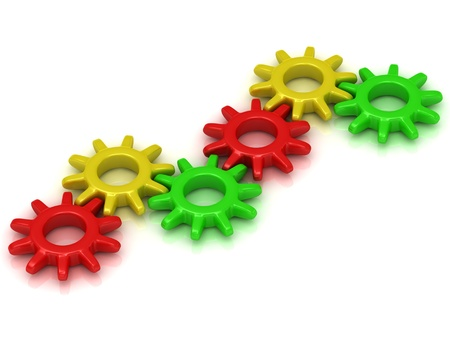 Set of colored cogs on a white background. Work concept  photo