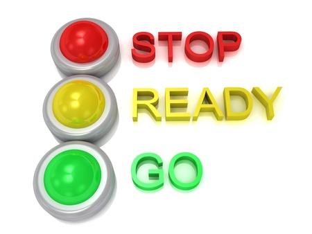 Semafori con il rosso, il traffico giallo e verde le luci con stop iscrizioni, pronti, via