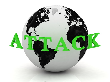 ATTACK abstraction inscription around earth on a white background photo
