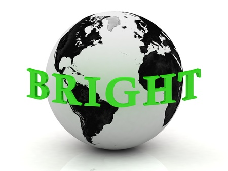 BRIGHT abstraction inscription around earth on a white background photo