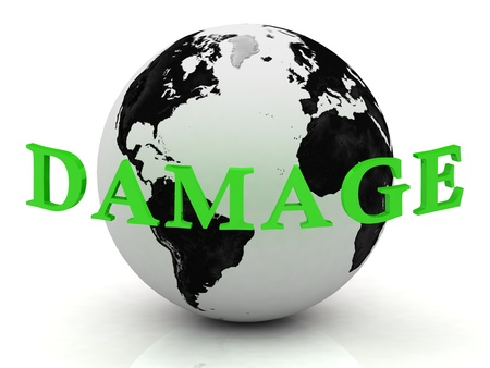 DAMAGE abstraction inscription around earth on a white background photo