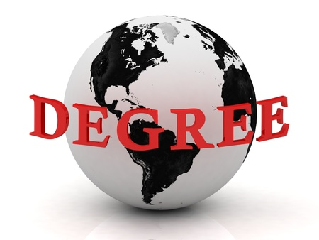 DEGREE, abstraction inscription around earth on a white background photo