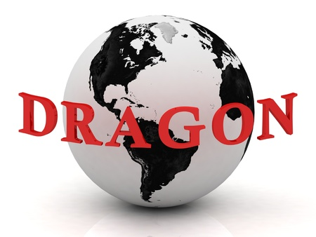 DRAGON abstraction inscription around earth on a white background photo
