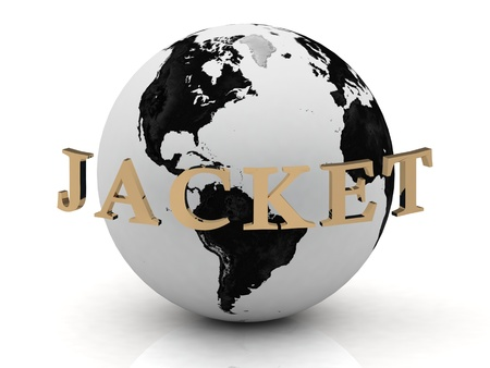 hooded: JACKET abstraction inscription around earth on a white background