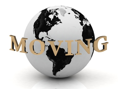 MOVING abstraction inscription around earth on a white background Stock Photo - 14690385