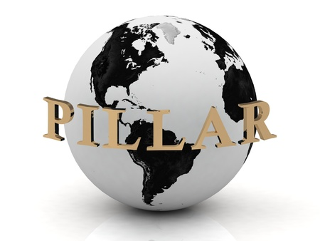 PILLAR abstraction inscription around earth on a white background Stock Photo - 14690255