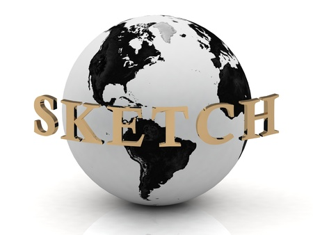 SKETCH abstraction inscription around earth on a white background photo