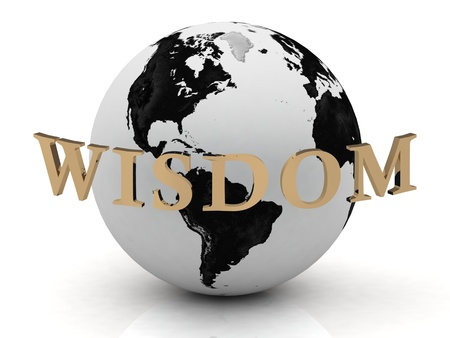 WISDOM abstraction inscription around earth on a white background photo