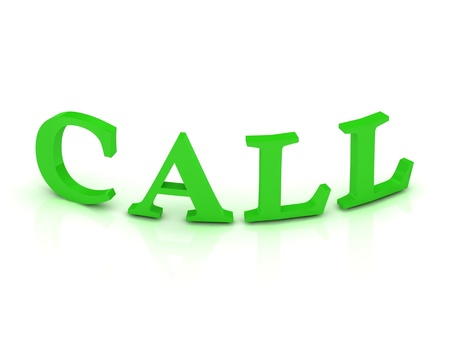 CALL sign with green letters on isolated white background photo