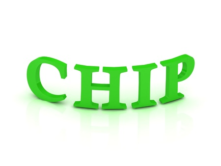 CHIP sign with green letters on isolated white background Stock Photo - 14687899