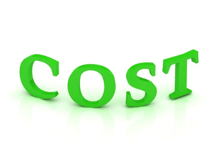 COST sign with green letters on isolated white background photo