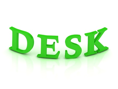 DESK sign with green letters on isolated white background photo