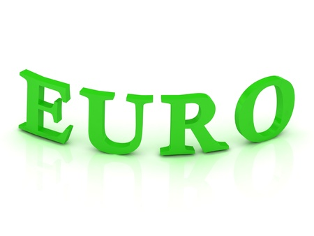 EURO sign with green letters on isolated white background photo