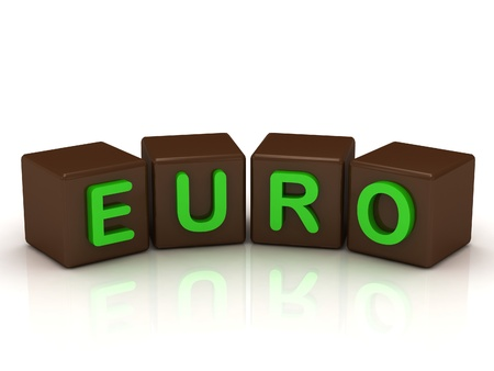 EURO inscription bright green letters on the cubes of chocolate isolated on white background photo