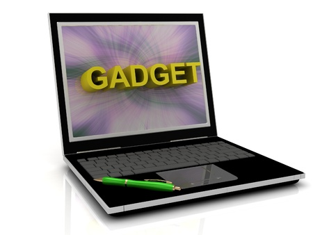 electronic music: GADGET message on laptop screen in big letters. 3D illustration isolated on white background