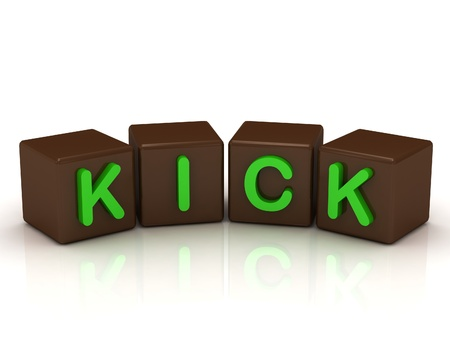 KICK inscription bright green letters on the cubes of chocolate isolated on white background photo