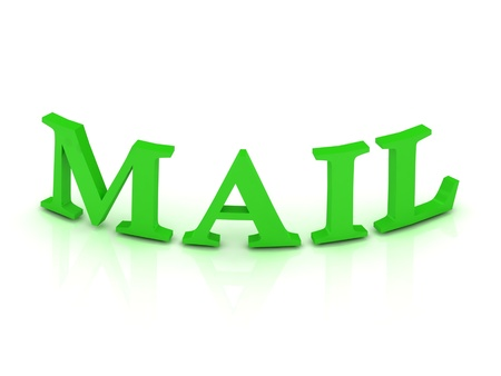 MAIL sign with green letters on isolated white background photo