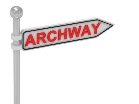 archway: ARCHWAY arrow sign with letters on isolated white background