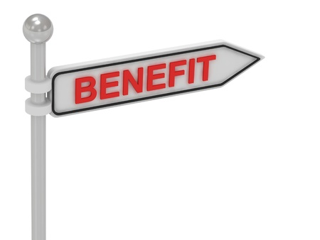 BENEFIT arrow sign with letters on isolated white background photo