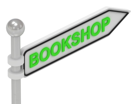 BOOKSHOP arrow sign with letters on isolated white background photo