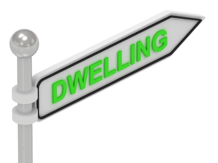 DWELLING arrow sign with letters on isolated white background photo