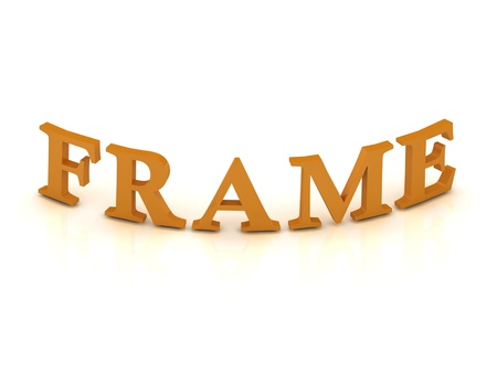 FRAME sign with orange letters on isolated white background photo