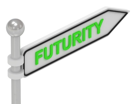 futurity: FUTURITY arrow sign with letters on isolated white background