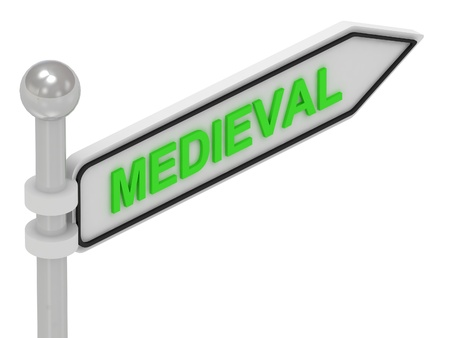 MEDIEVAL arrow sign with letters on isolated white background photo