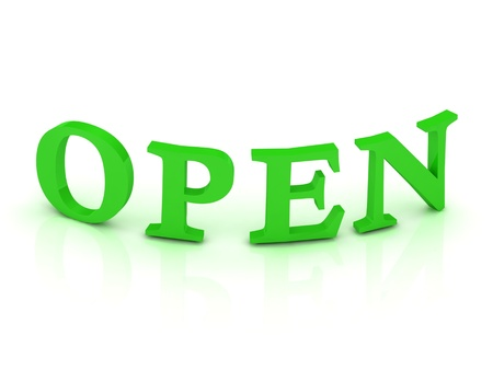 OPEN sign with green letters on isolated white background photo