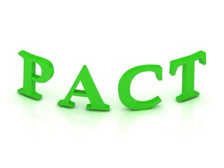 pacto: PACT cartel con letras verdes sobre fondo blanco Foto de archivo