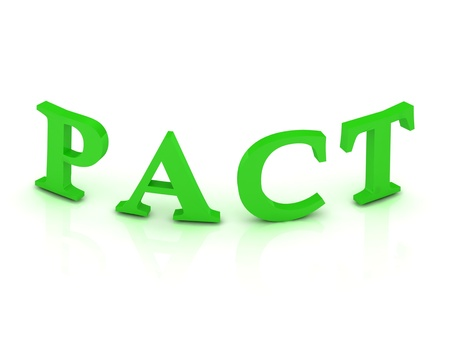 pact: PACT sign with green letters on isolated white background