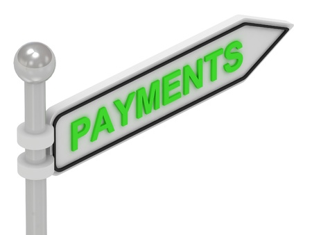 PAYMENTS arrow sign with letters on isolated white background photo