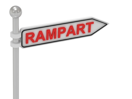 rampart: RAMPART arrow sign with letters on isolated white background Stock Photo