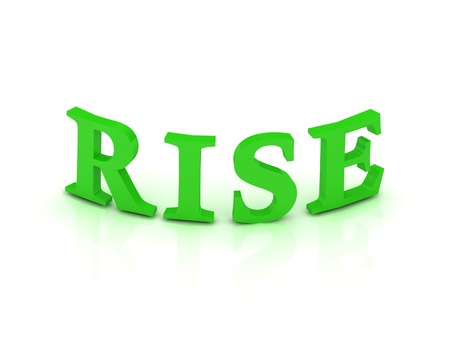 RISE sign with green letters on isolated white background photo