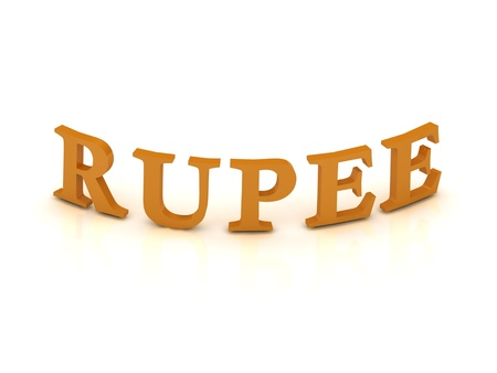 RUPEE sign with orange letters on isolated white background photo