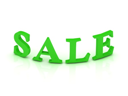 SALE sign with green letters on isolated white background Stock Photo